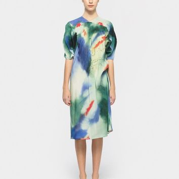 Blouse Dress in Green / Red