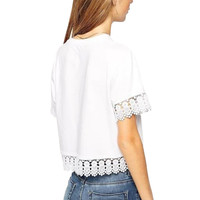 White Lace Accent Short Sleeve Cropped Top