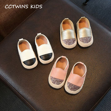 CCTWINS KIDS 2017 Autumn Baby White Espadrilles First Walkers Toddler Girl Glitter Slip-on Flats Boy Child Fishman Shoe G1144