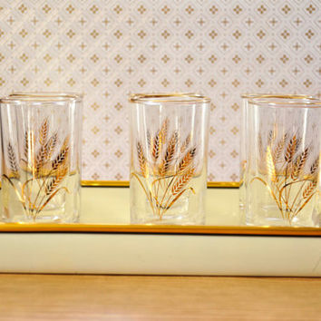Mid Century Modern Vintage Juice Glasses Gilded Wheat Pattern Set of 6