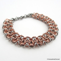Men's chainmaille bracelet, stainless steel and copper, gridlock Byzantine weave