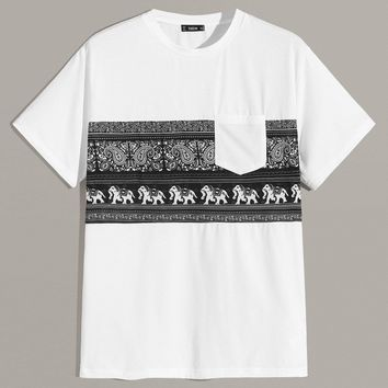 Men Tribal Print Pocket Patched Tee