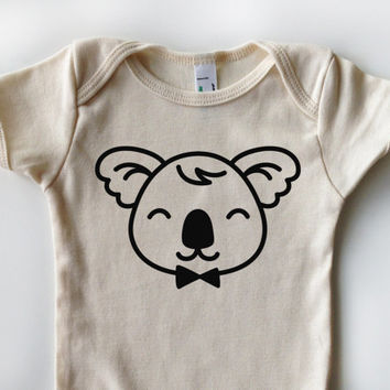 3-24 Mos. Cheerful Creatures Collection | Organic Cotton Kids One-Piece | Color: NATURAL | Choose Your Animal