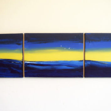large wall art acrylic painting landscape abstract triptych wall hanging canvas art 3 panel art three panel original ocean seascape 36 x 9 ""