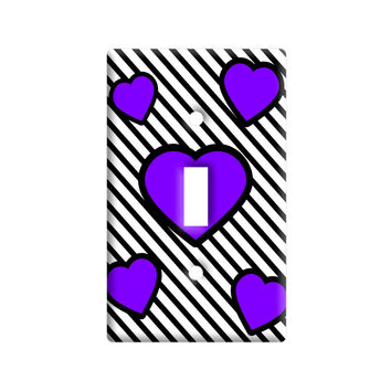 Love Cute Hearts Purple Black Stripes Light Switch Plate Cover