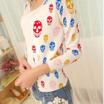 Factory outlets 2015 new fashion women jacket knit cardigan sweater large size printing Hot skulls