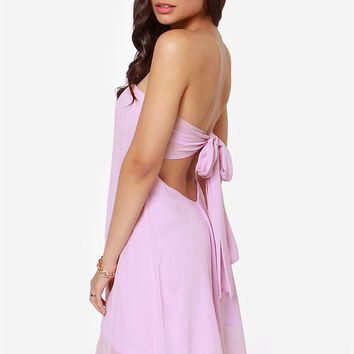 Strapless Back Tie Chiffon Dress
