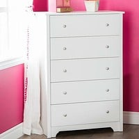 Classic 5-Drawer Bedroom Chest of Drawers in White Wood Finish