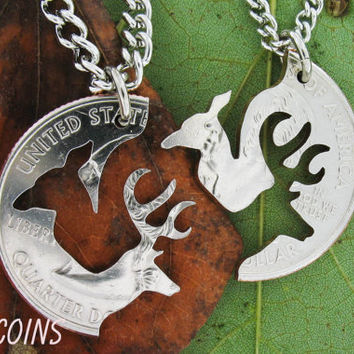 Buck and Doe Necklace Relationship Interlocking Love Quarter, hand cut coin
