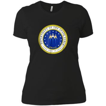 Department of Space Force Funny Political Satire T-Shirt Next Level Ladies Boyfriend Tee