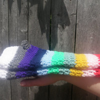 Fingerless gloves, rainbow gloves, crochet gloves, extra long, free shipping USA