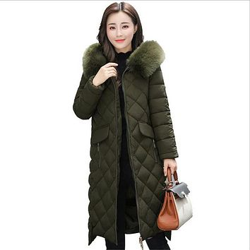 Women Winter Jackets And Coats Warm Slim Quilted Parka Furry Hooded Coat Long Ladies Split Jacket Feminino Casacos Neve CM1369
