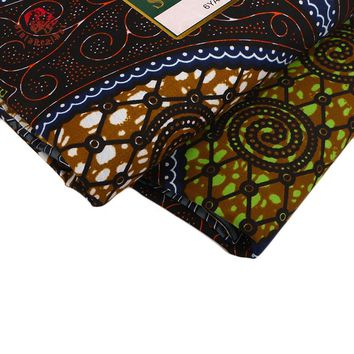 Ankara African Polyester Wax Prints Fabric Super Hollandais Wax High Quality 6 yards African Fabric for Party Dress PL841