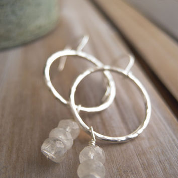 Sterling Silver Hoop Earrings, Rainbow Moonstone Earrings, Hammered Hoops, Gemstone Earrings, Boho Hoop, Sundance Style, Everyday jewelry