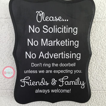 Hand Painted No Soliciting Sign, Wood Sign, Door Sign, Front door sign, hand painted sign, housewarming gift, do not disturb, outdoor decor