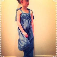 Blue Jean Romper……Toddler/Girls Jean Wide Leg Pant Romper/ Boutique Pant Jumper Romper