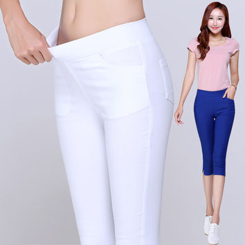 2016 Summer Style Candy Color Capris Pants Women Thin Summer Pants Ladies High Waist Elastic Plus Size S-6XL Pants