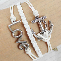 leather  bracelets-silver lovet & anchor  braclets with white wax nd leather braided rope bracelets personalized bracelets love gifts N0079