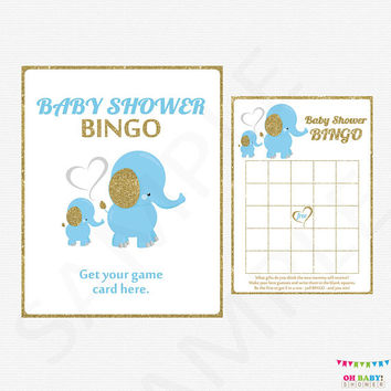 Elephant Baby Shower, Blue and Gold Baby Shower, Baby Shower Bingo, Baby Shower Game Boy, Printable Baby Shower Games Boy, Digital, ELLBG2