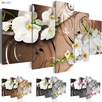White Flowers Prints Wall Painting 5 Pieces Blossom Poster Modern Canvas Art Modular Pictures for Living Room Home Decor