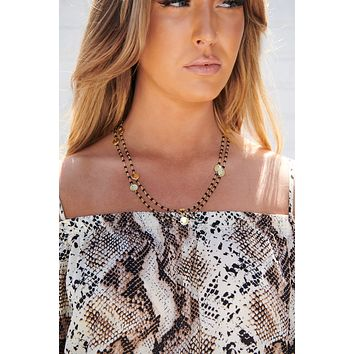Thinking About You Beaded Necklace (Black)