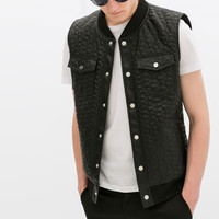 Quilted faux leather waistcoat