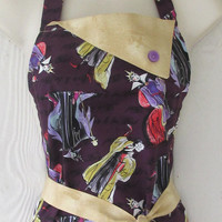 Disney Villains Retro Style Full Apron for Women / Maleficent / Cruella De Vil / Evil Queen / Villainess