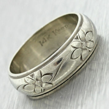1940s Antique Vintage 14k Solid White Gold Etched Flower Wide Wedding Band Ring