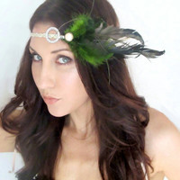 Tallulah Hair Feather Headband Fascinator Green Gold by deLoop