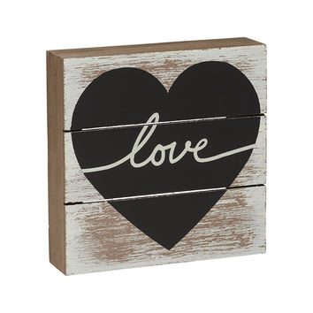 Heart of Love - Vintage Pallet Style Box Sign - 6-in