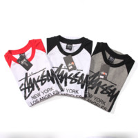 Stussy Fashion Edgy Print Multicolor Sport Letter Shirt Top Tee