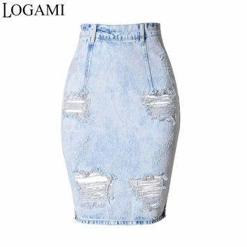 Women Denim Skirt Knee Length High Waist Pencil Skirt Skirts Womens 2017 Faldas Midi Estampadas Saia Jupe
