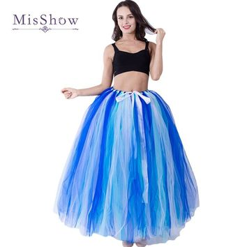 MisShow High Quality 3 Layers 100cm Summer Long Tulle Skirt Fashion Pleated TUTU Skirts Womens Lolita Petticoat Bridesmaids
