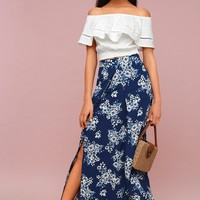French Seaside Navy Blue Floral Print Maxi Skirt