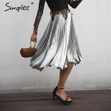 Casual smooth high waist satin long skirt Elastic pleated skirt