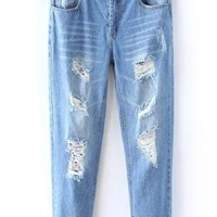 Stylish Mid-Rise Buttoned Broken Hole Jeans For Women