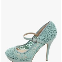Menthol My Crochet Mary Jane Heels | $12.50 | Cheap Trendy Heels and Pumps Chic Discount Fashion fo