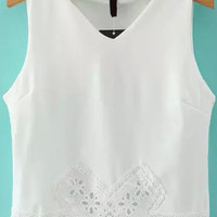 White V Neck Cutout Sleeveless Cropped Top