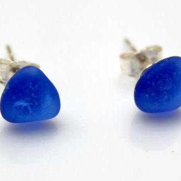 Blue Sea Glass Post Earrings on Sterling Silver by SeaglassReinvented