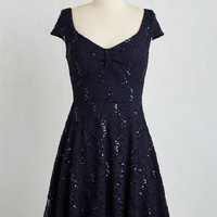 Short Length Cap Sleeves A-line Cask Party Dress in Midnight Blue by ModCloth