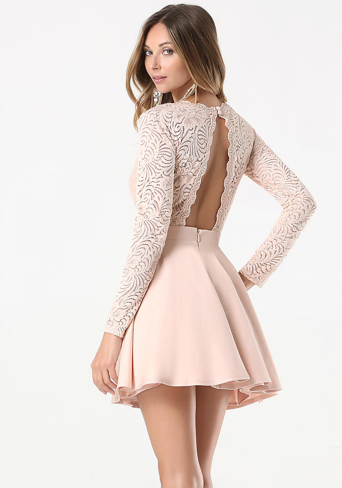 Bebe Womens Lace Backless Flared Dress From Bebe