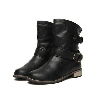 Leather Round Toe Ankle Boots with Low Heel_BUYFYE Members ONLY
