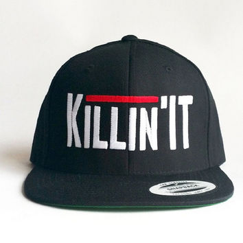 Black Snapback - Killin' It embroidered design - Urban hat