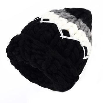 WENDYWU Winter Warm Cap Handmade Knitted Beanie Crochet Caps Men and Women Fashion Casual Hat