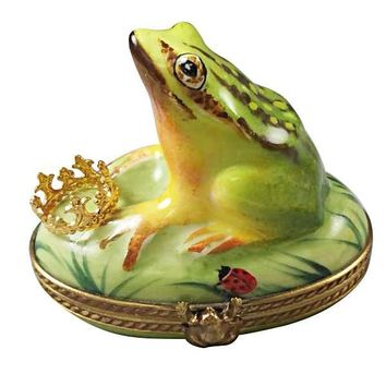 FROG WITH CROWN LIMOGES BOXES