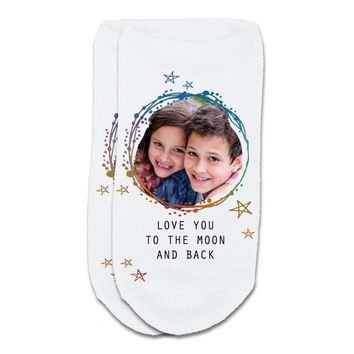 Custom Printed Photo No-Show Socks - Love You to the Moon and Back