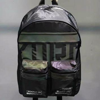 EVISU New fashion colorful reflective letter print travel high capacity couple bag backpack Black