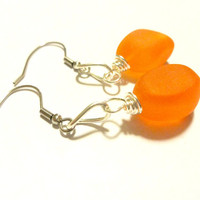 Tangerine Orange Sea Glass Earrings,  Sophisticated Dangle Earrings, Ocean Inspired Jewelry, Gift Under 20