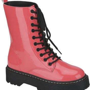 Patent Lace Up Work Boot (CORAL)