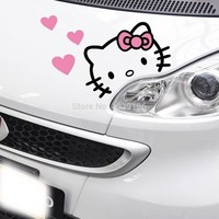 Newest Creative Lovely Hello Kitty With Love Car Stickers Car Covers Decal for Tesla Toyota Chevrolet Volkswagen Hyundai Lada